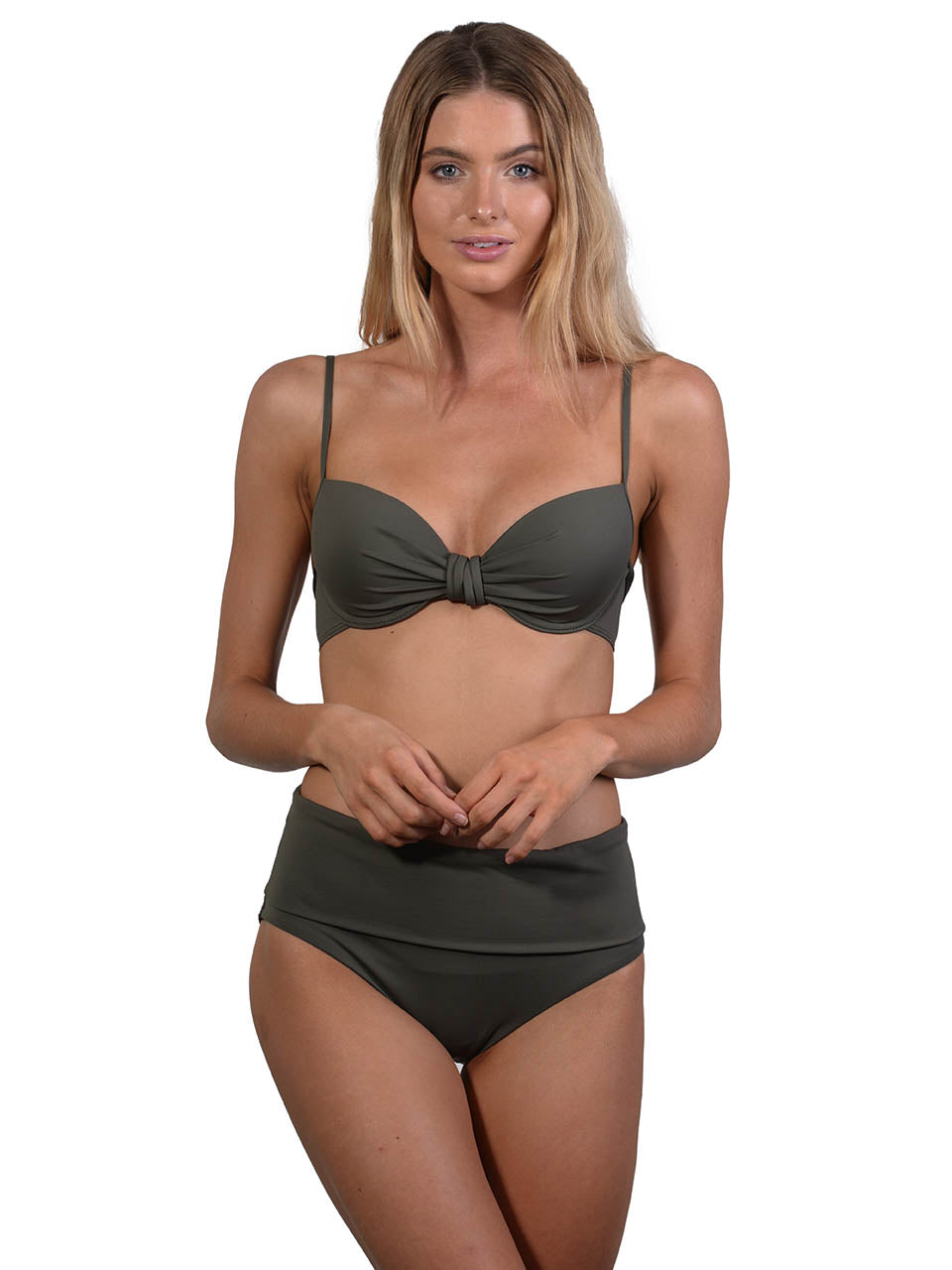 Khaki Seduce B/C Molded Underwire Bikini Top with High Waist Band Pant