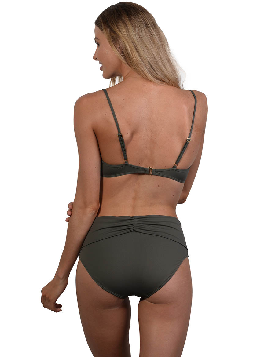 Back view of Seduce B/C Molded Underwire Bikini Top in Khaki