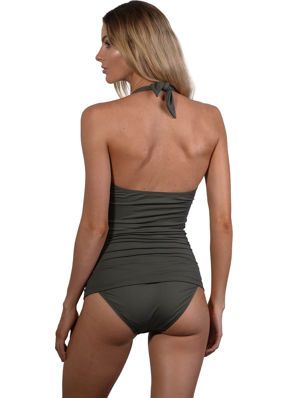 Back view of Seduce Keyhole Halter Singlet Bikini Top in Khaki