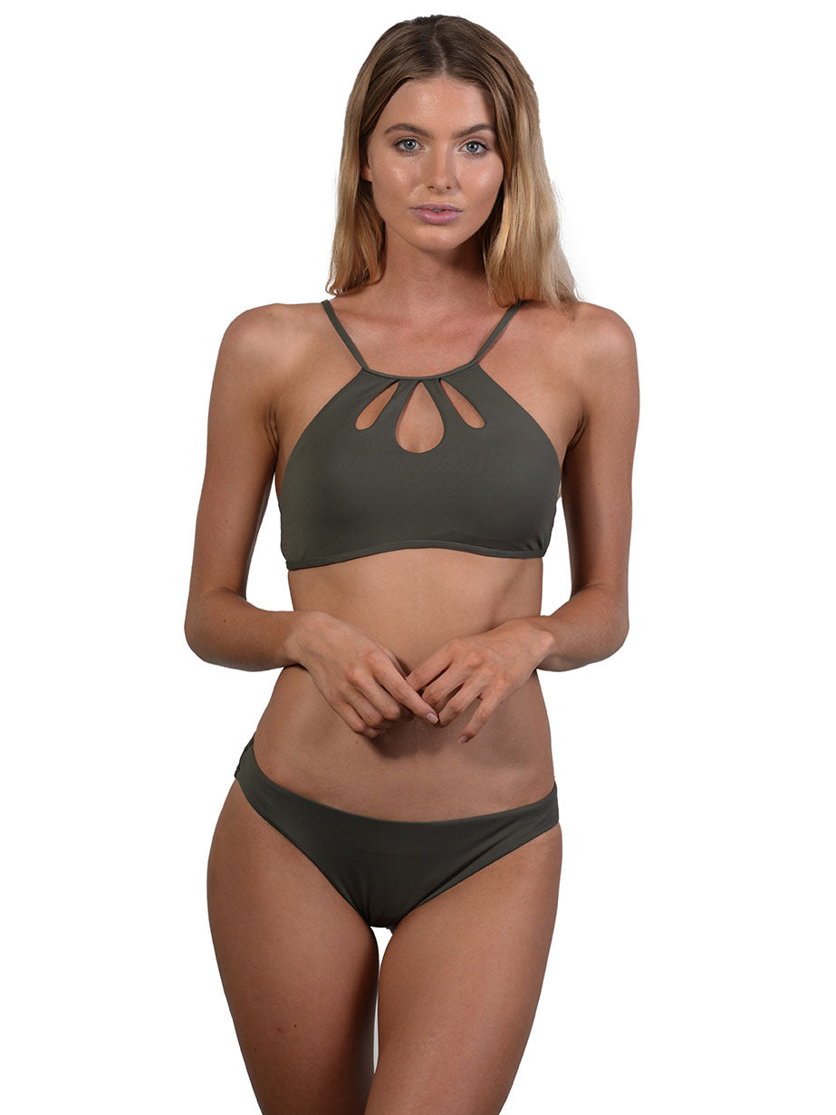 Khaki Seduce Hipster Bikini Pant with Tear Drop Halter top