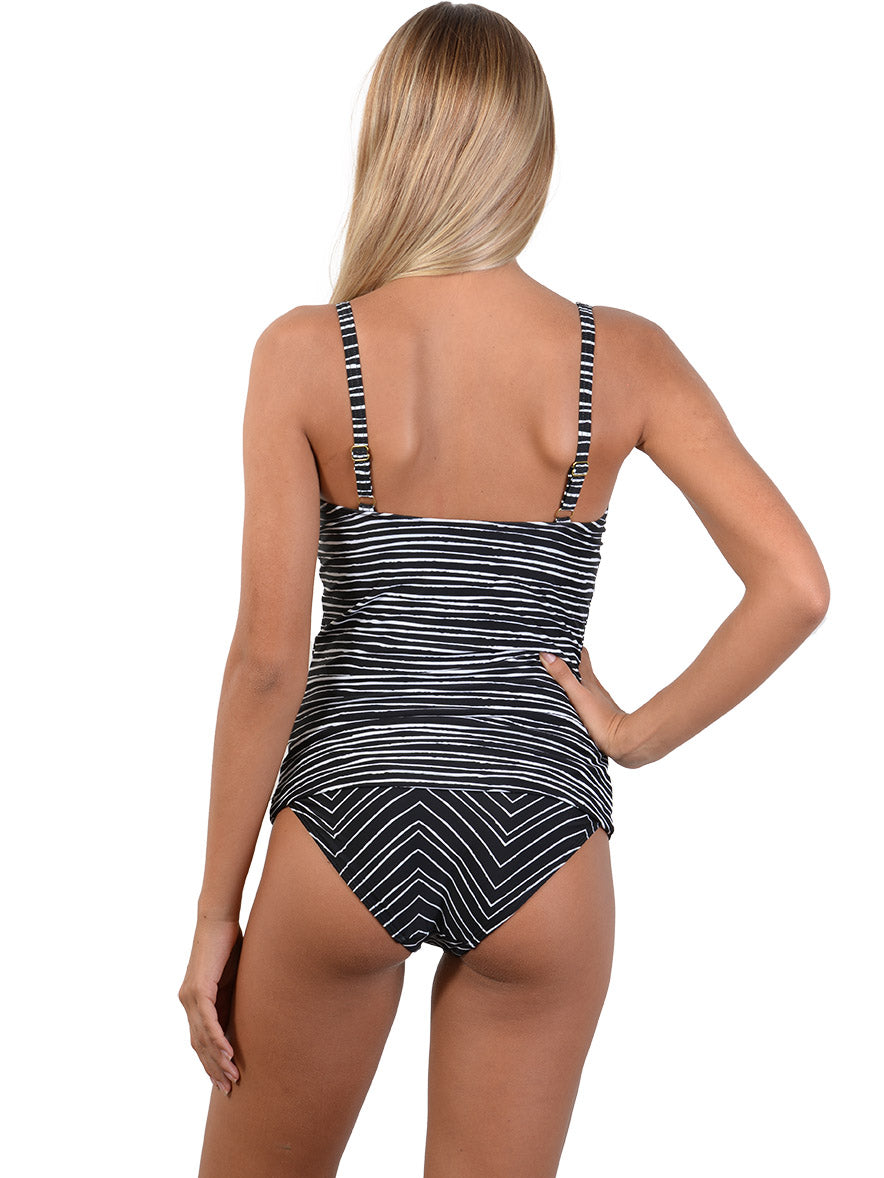 Back view of Sahara D-E Cup Ruched Singlet Bikini Top in Black