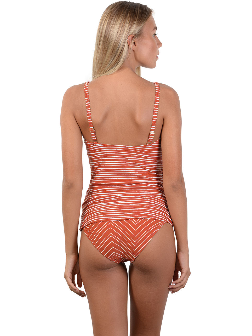 Back view of Sahara D-E Cup Ruched Singlet Bikini Top in Spice
