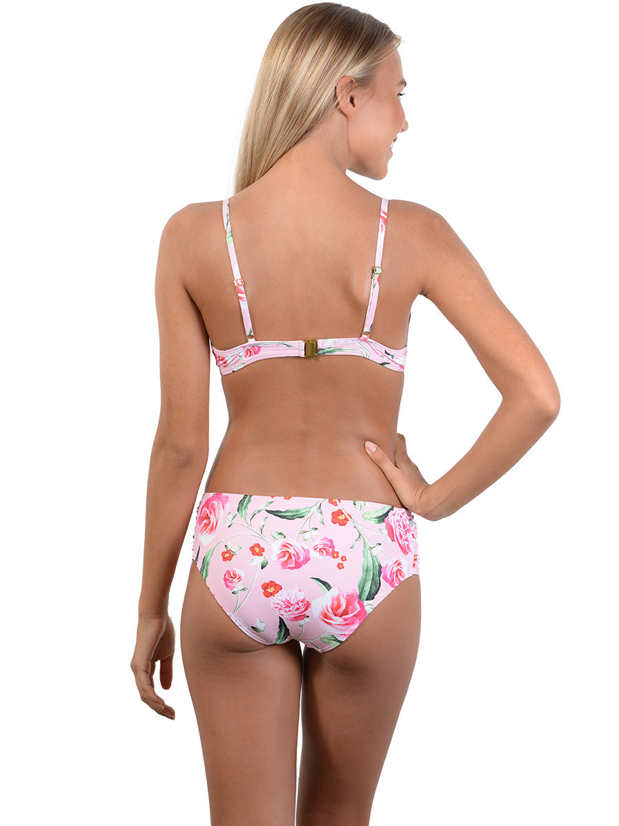 Back of Summer Romance Ruche Side Retro Bikini Pant in Blush