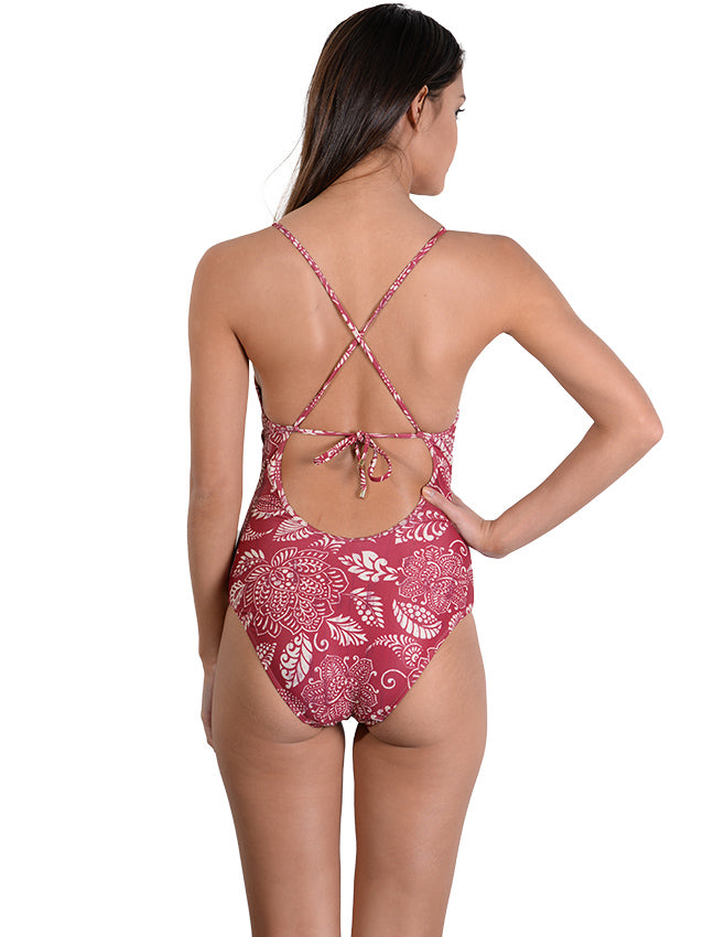 Back view of Temple D'Or Plunge Onepiece