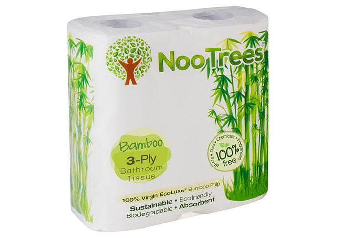 nootrees 100 bamboo 4 roll 3 ply eco luxe pack toilet roll 300 sheets per roll - Bathroom Tissue