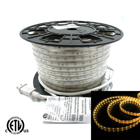 120V Flexible LED Strip Lights - Waterproof 3000K Warm White 164ft