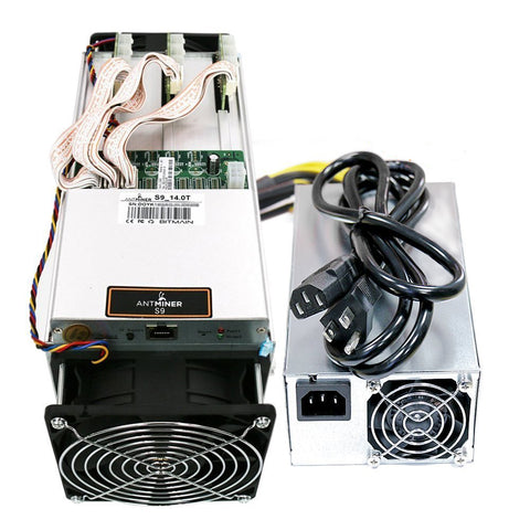 Antminer S9~14.0TH/s @ 0.098W/GH 16nm ASIC Bitcoin Miner with PSU and Cord With Hosting Contract