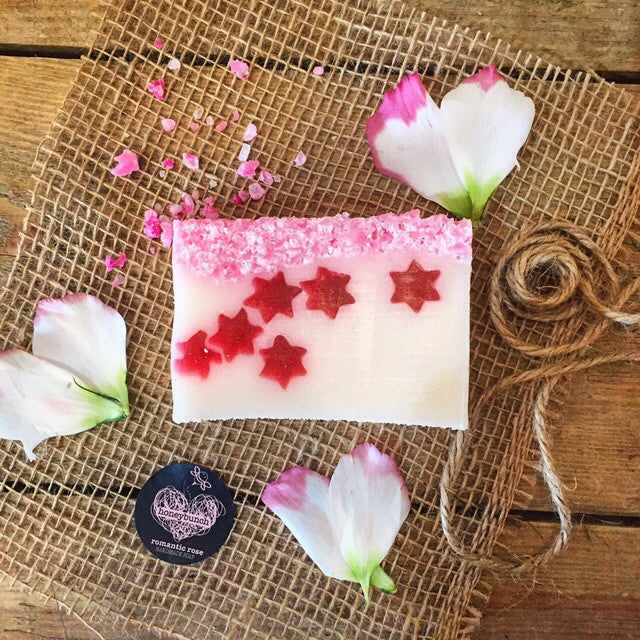 Romantic rose oil, goatsmilk, manuka honey sea salt slab soap
