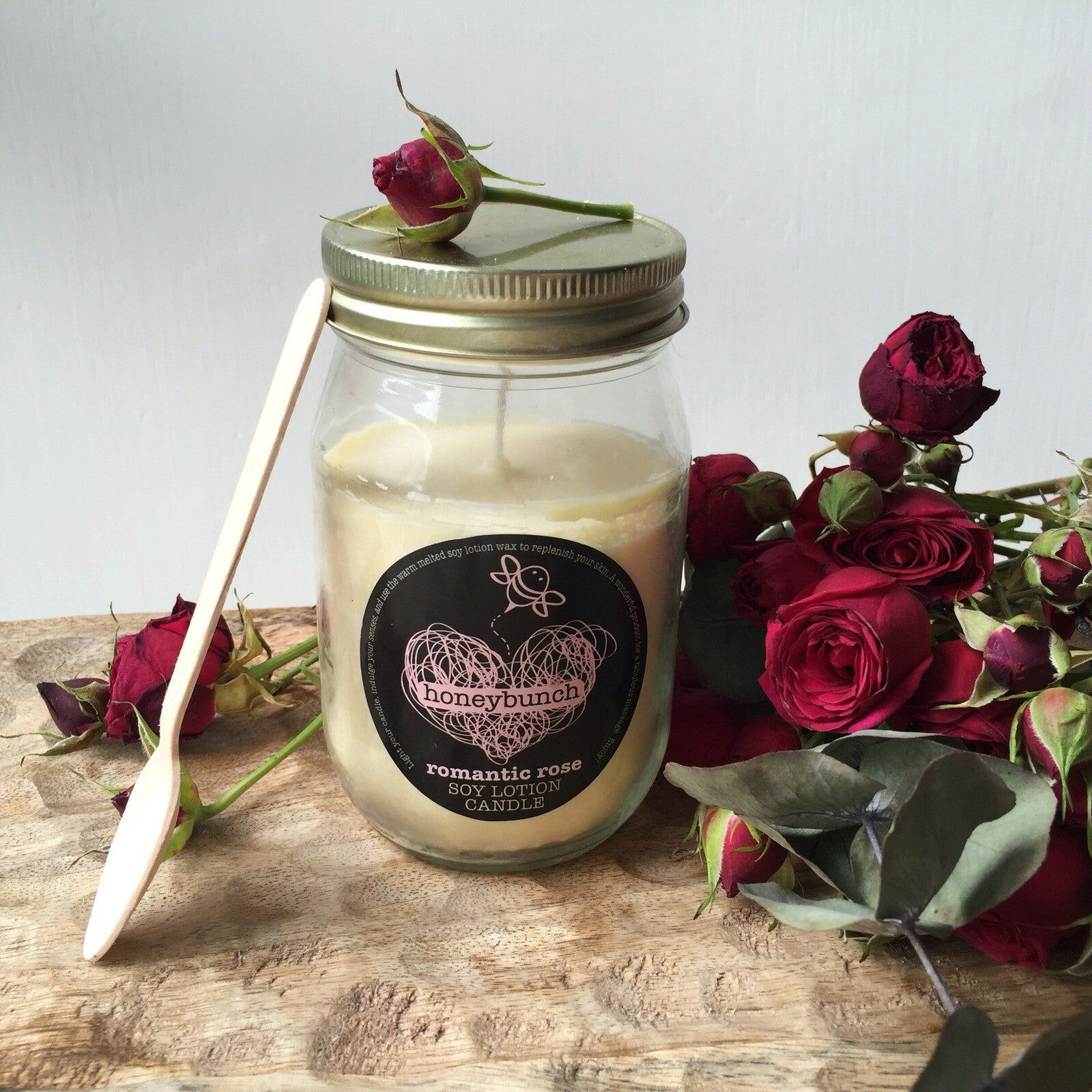 romantic rose soy lotion candle