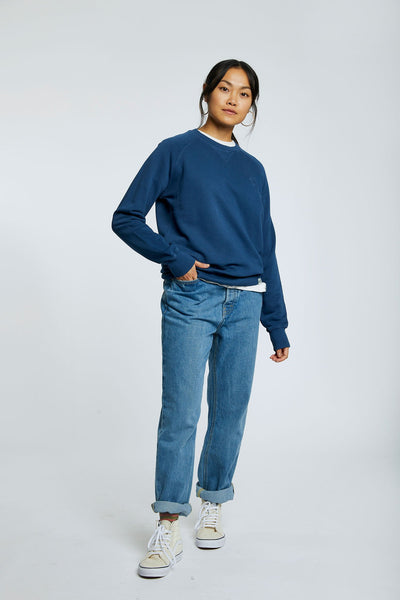 ANTON Womens - GOTS Organic Cotton Crewneck Navy