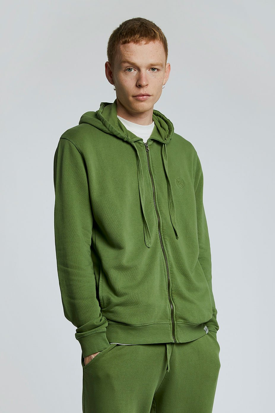 APOLLO Mens - GOTS Organic Cotton Zip Hoodie Olive