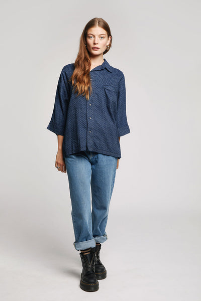 JAPAN Kimono Organic Cotton Shirt Indigo Dark
