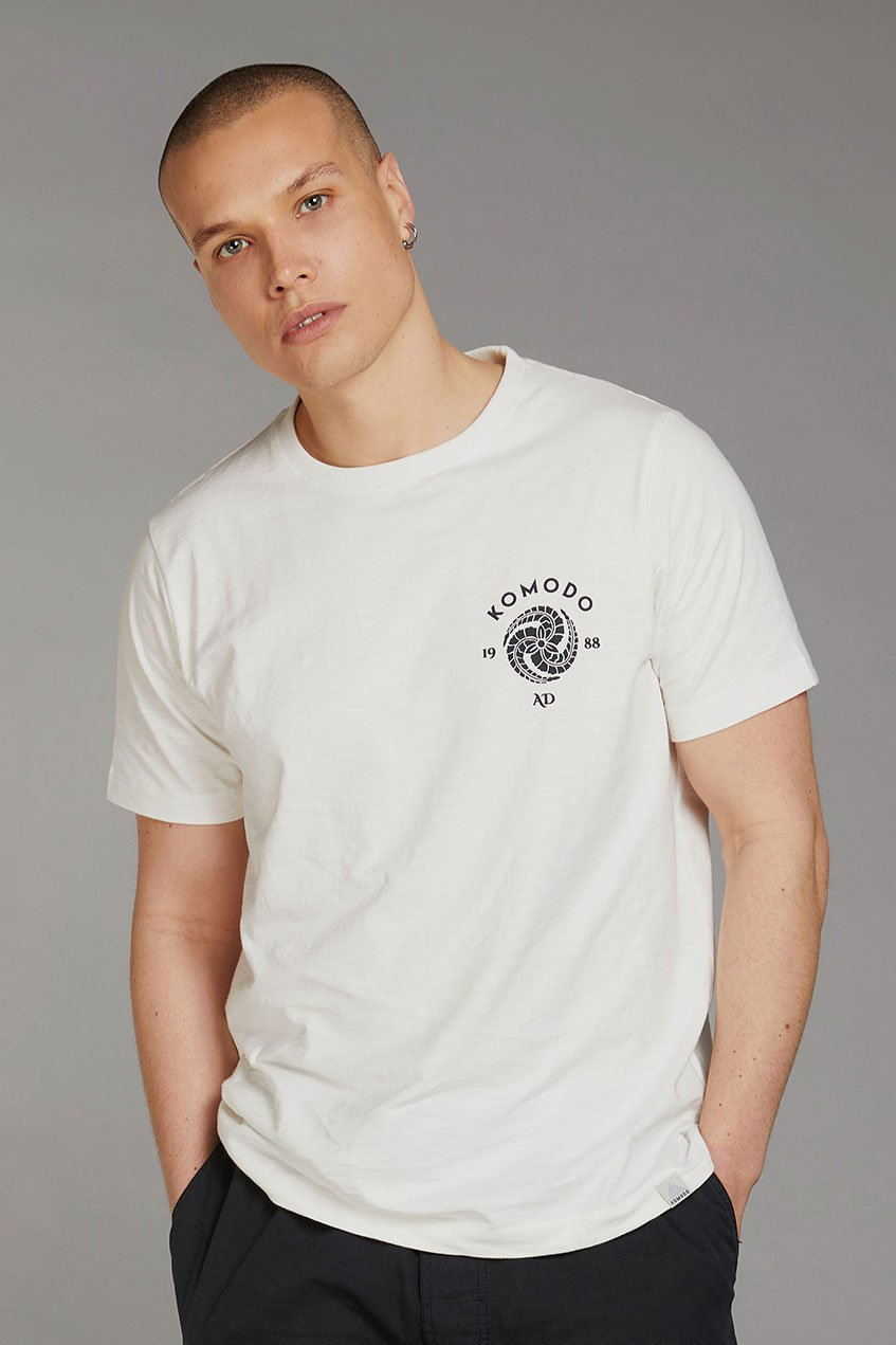 KIN CREST - GOTS Organic Cotton Tee Off White & Black