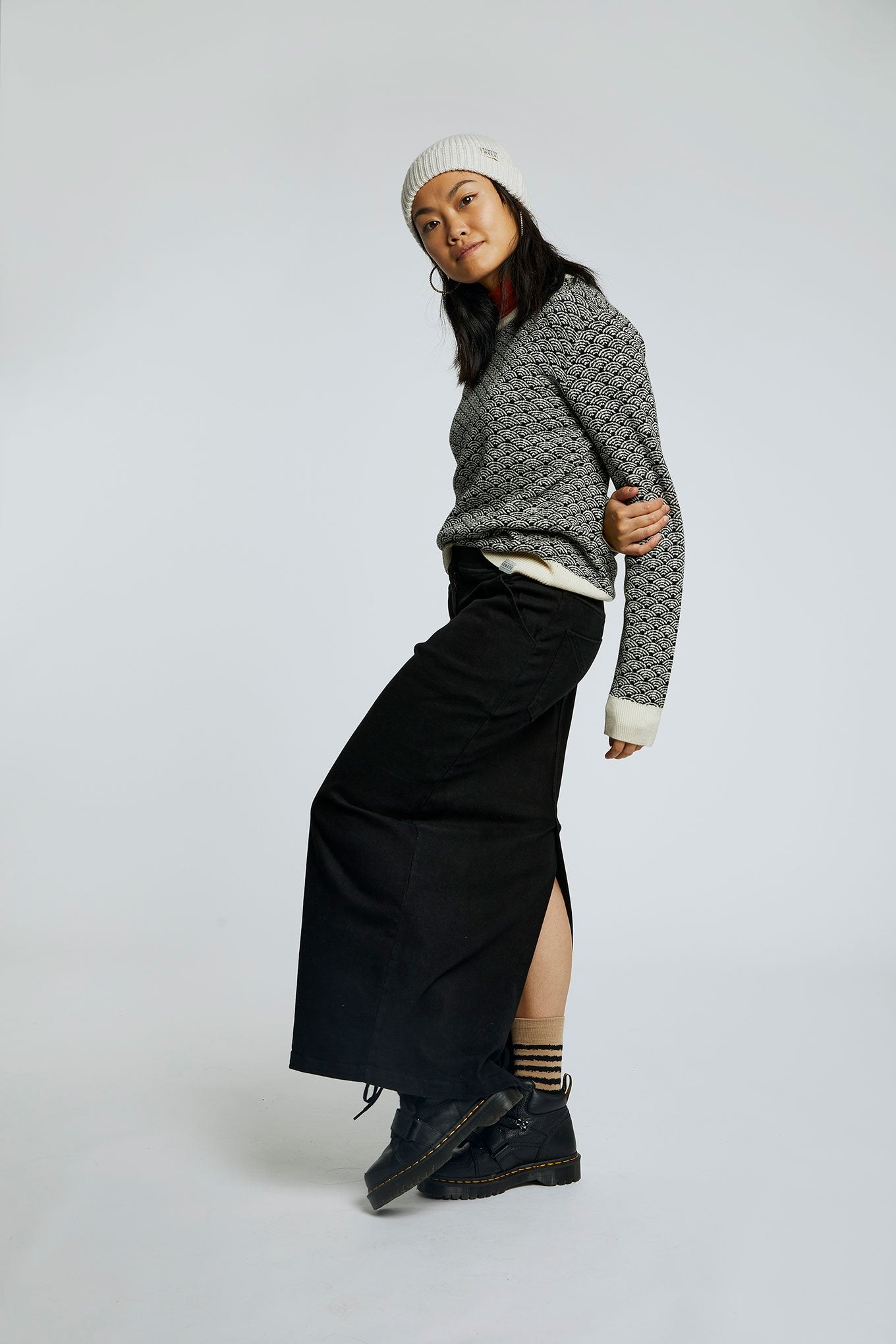 MOONLIGHT Organic Cotton Midi Skirt Coal