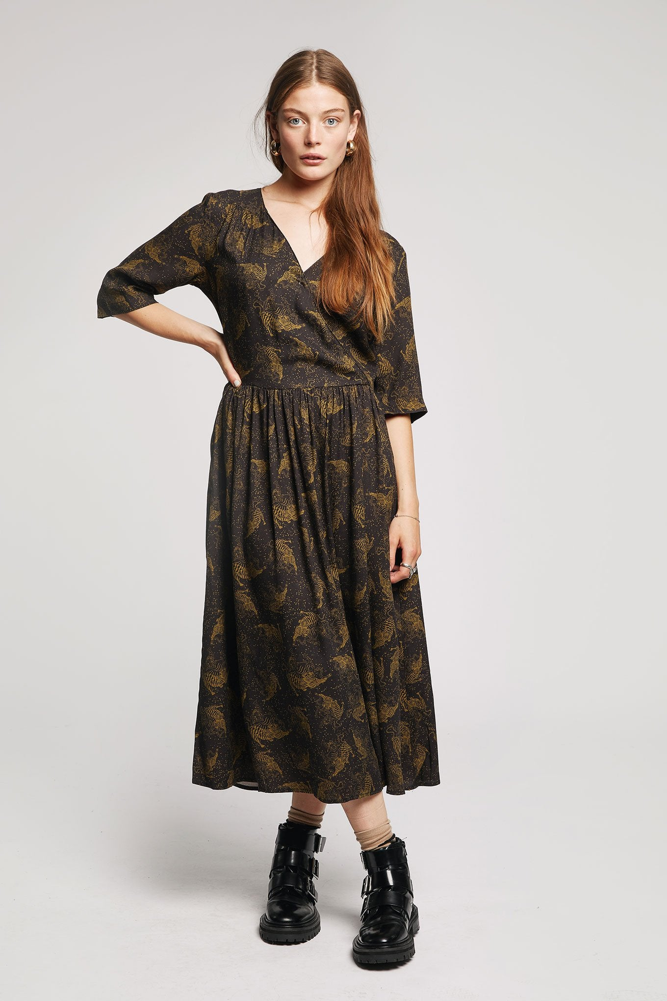 TENZING Rayon Dress Olive/Black