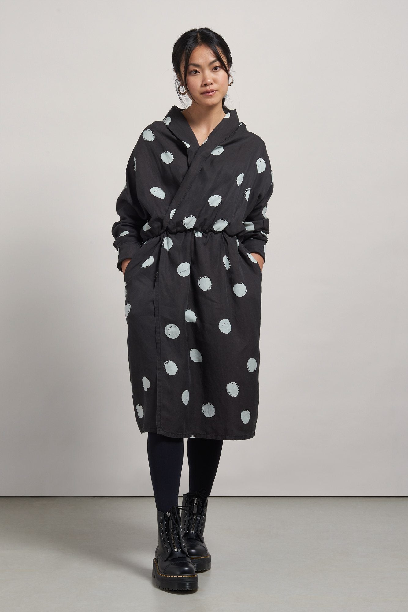 Dress - KUSAMA DOT Tencel Linen Wrap Dress