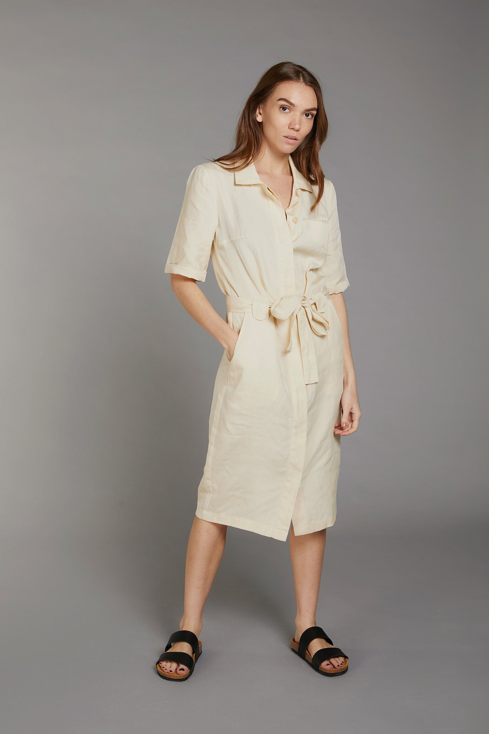 LINLIN Tencel Linen Shirt Dress Warm Sand - Komodo Fashion