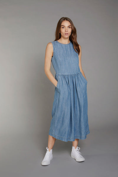 PRIMROSE Tencel Linen Dress Indigo Wash - Komodo Fashion