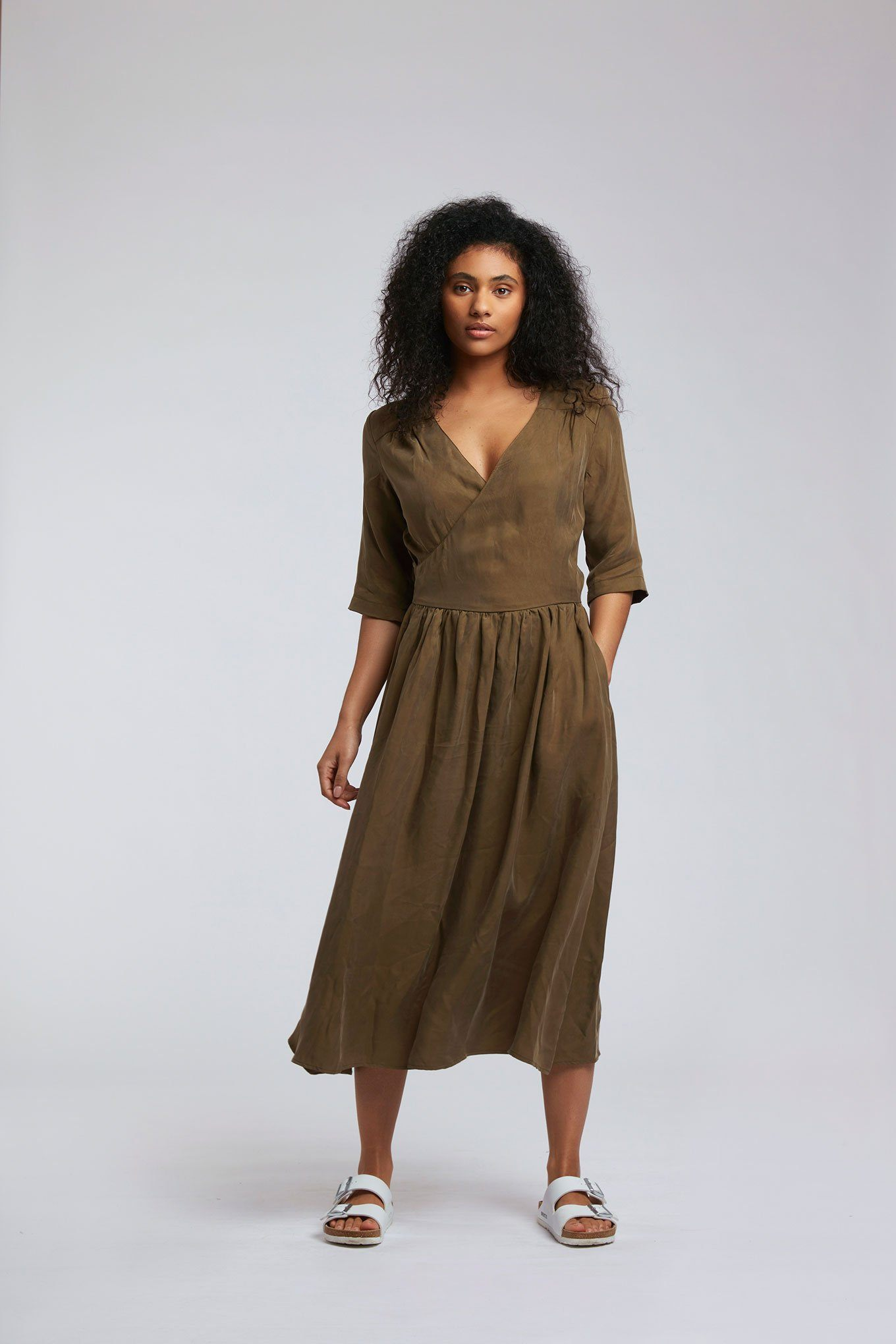 Dress - TENZING Cupro Dress Khaki