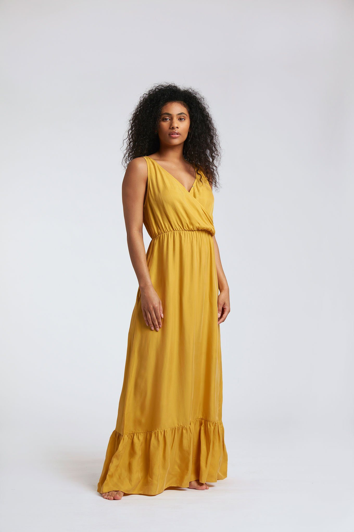 Dress - WHIRLYGIG Cupro Dress Ochre