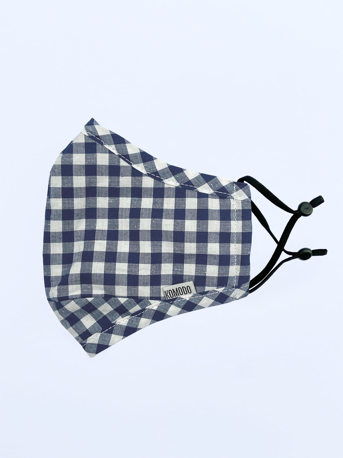 Face Mask - REUSABLE FACE FABRIC FACE MASK - GINGHAM BLUE