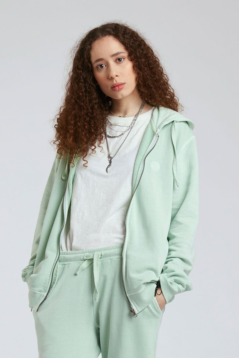 Jumper - APOLLO Womens - GOTS Organic Cotton Zip Through Jade