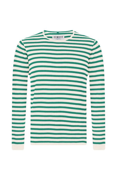 CHARLIE Organic Cotton Jumper Green Stripe - Komodo Fashion