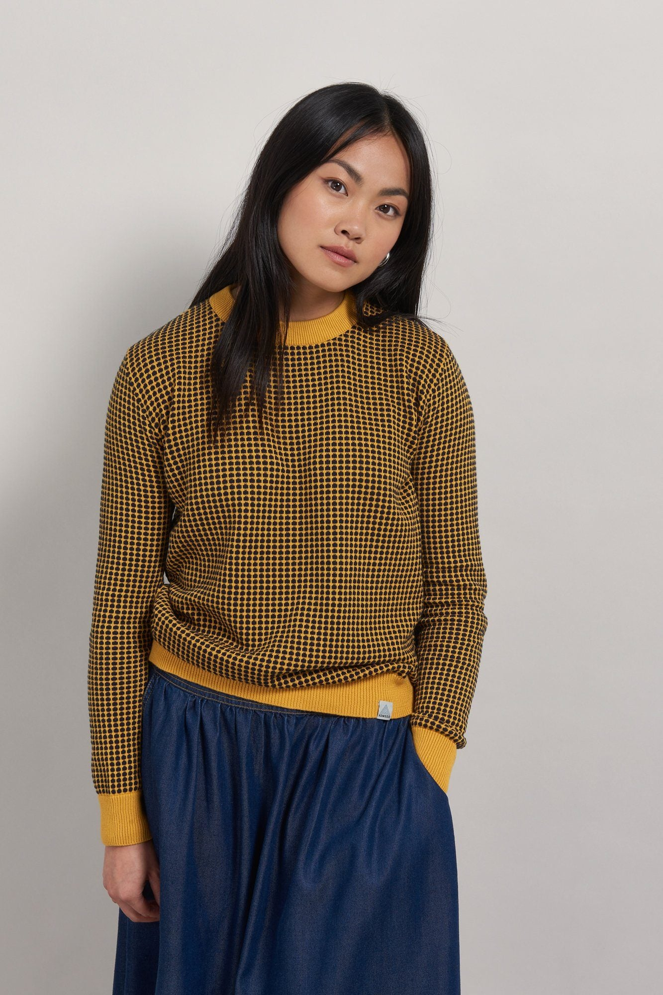 HANNA Organic Cotton Jumper Marigold & Navy - Komodo Fashion