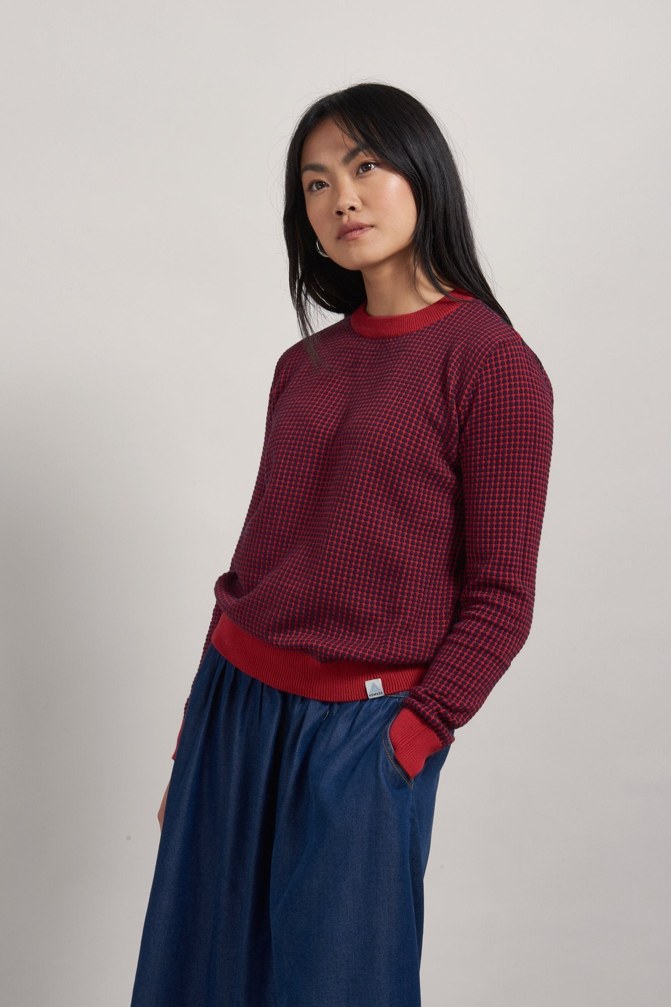Jumper - HANNA Organic Cotton Jumper Navy & Burnt Red