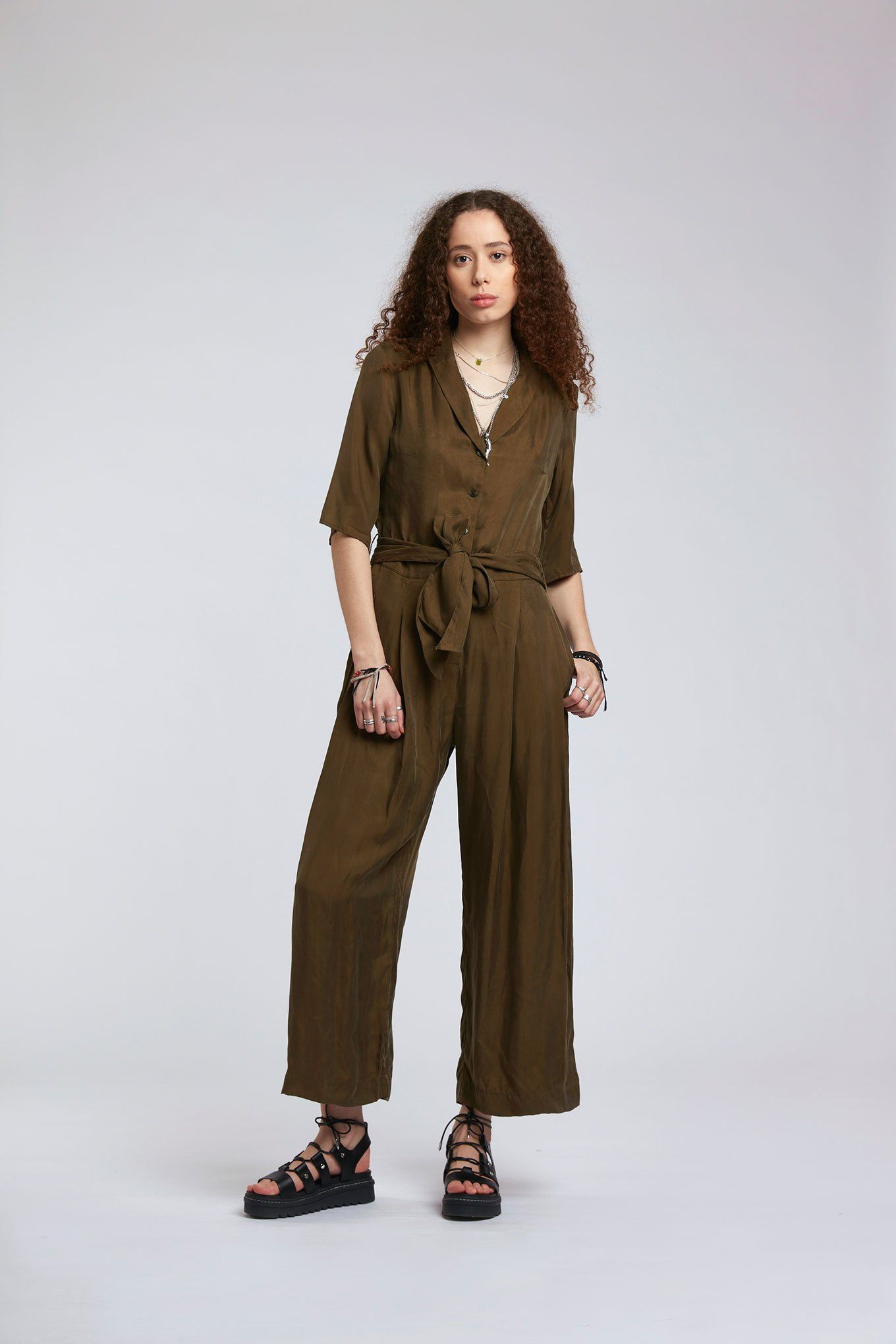 Jumpsuit - PLANET Cupro Jumpsuit Khaki
