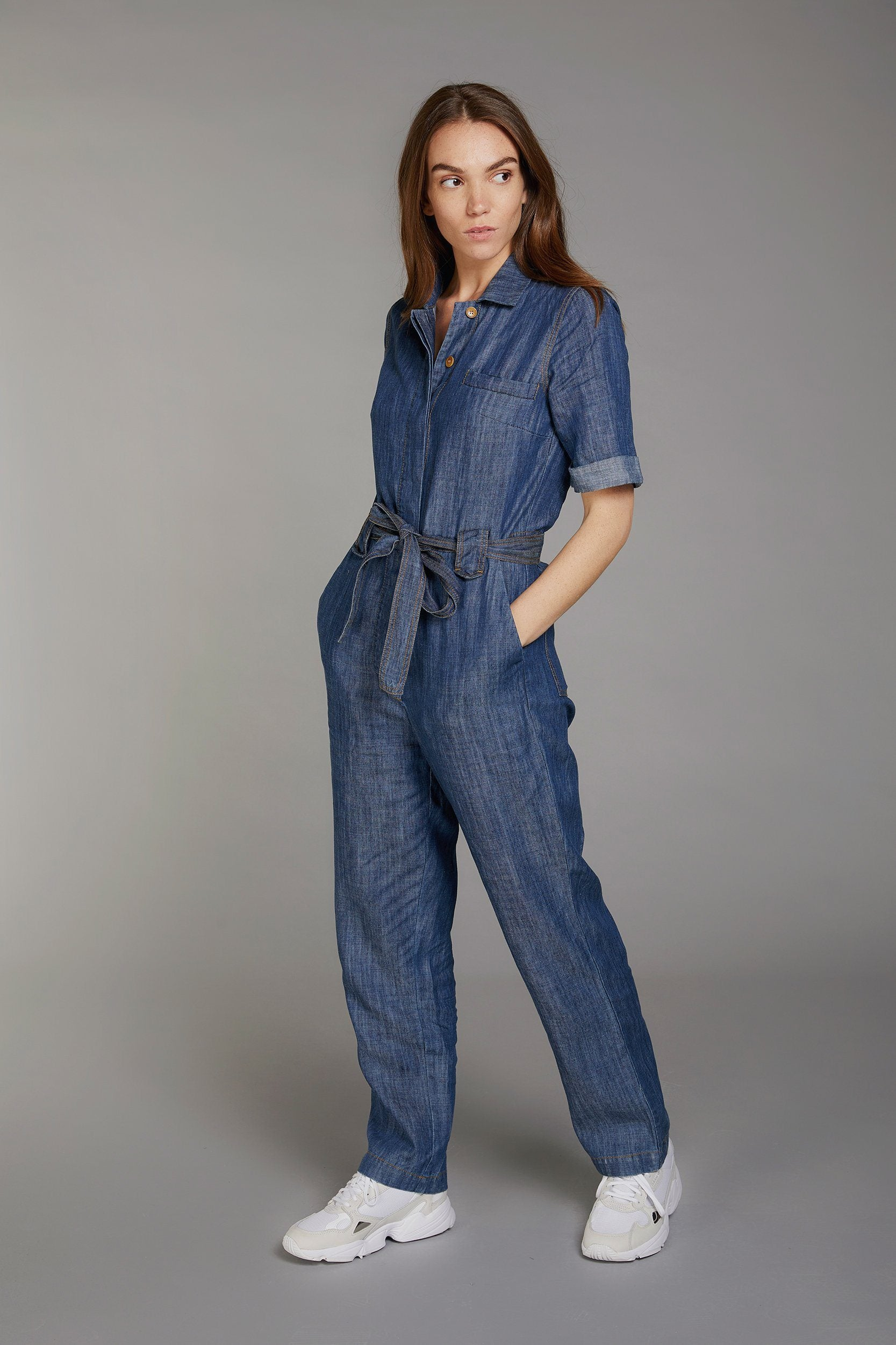 TRAPEZE Tencel Linen Jumpsuit Dark Wash - Komodo Fashion