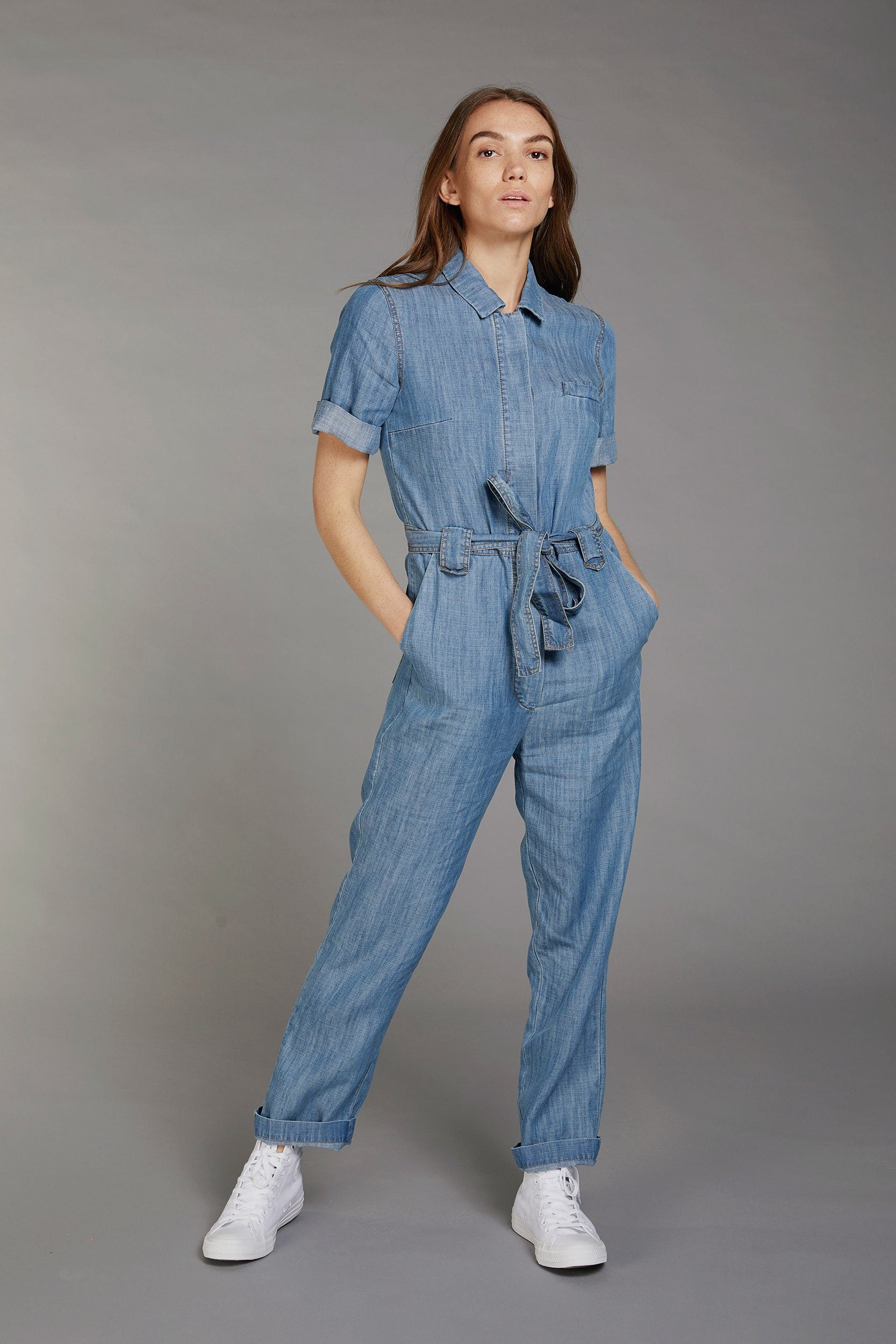 TRAPEZE Tencel Linen Jumpsuit Indigo Wash - Komodo Fashion