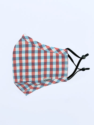 REUSABLE FACE FABRIC FACE MASK - GINGHAM MULTI