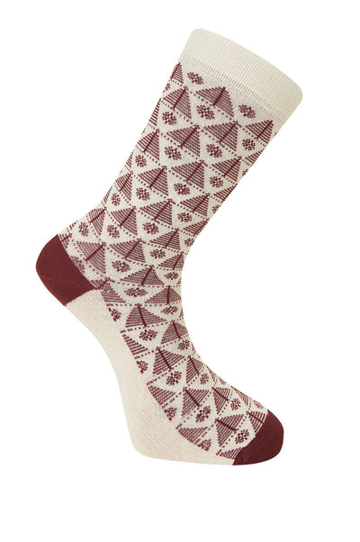 CHRISTMAS Tree Burnt Red Organic Cotton Socks - Komodo Fashion