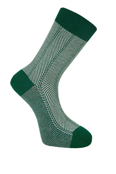 HERRINGBONE Emerald Organic Cotton Socks - Komodo Fashion