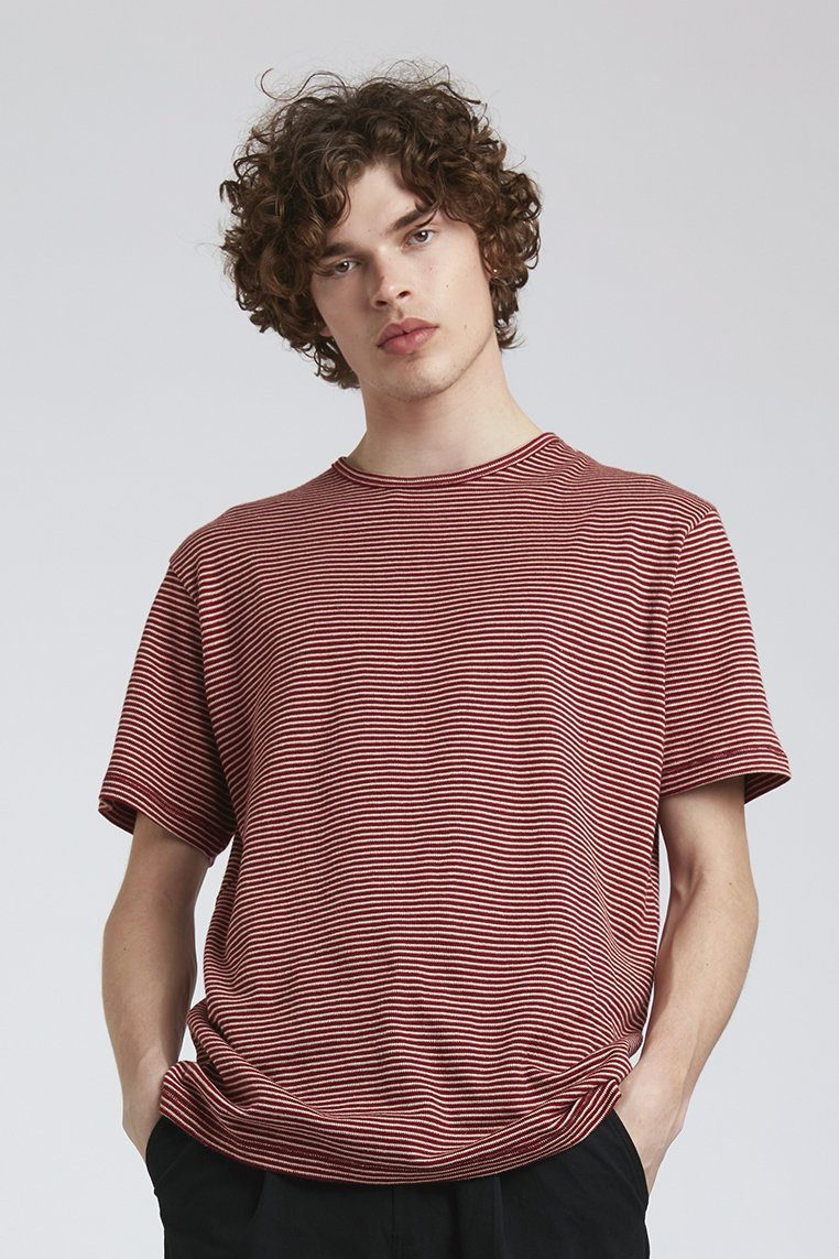 T-shirt - KIN Hemp Tee Red Stripe