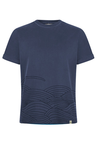 T-Shirt - SASHIKO Embroidery Organic Cotton T-Shirt Indigo