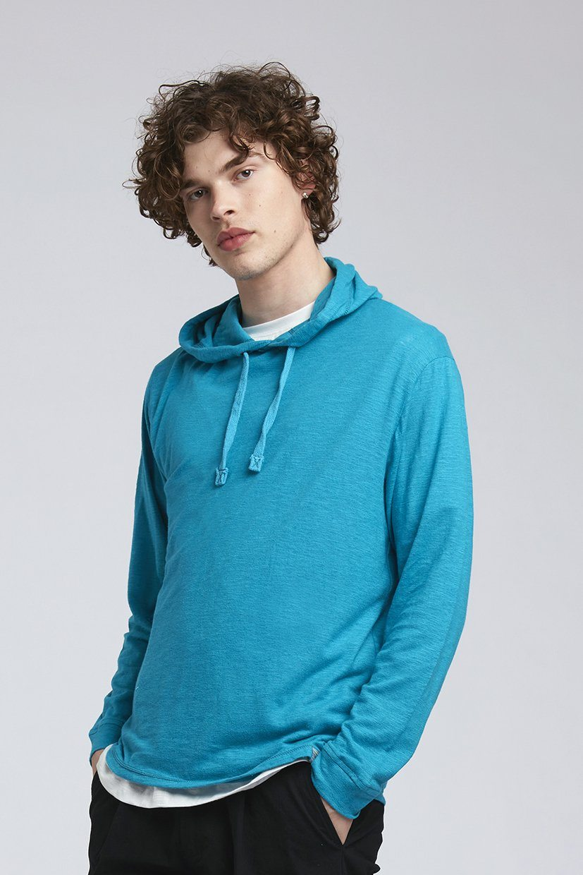 T-Shirt - SOUL Hemp Hooded Tee Aqua Blue