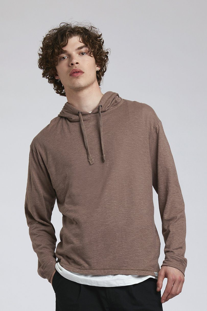 T-Shirt - SOUL Hemp Hooded Tee Brown