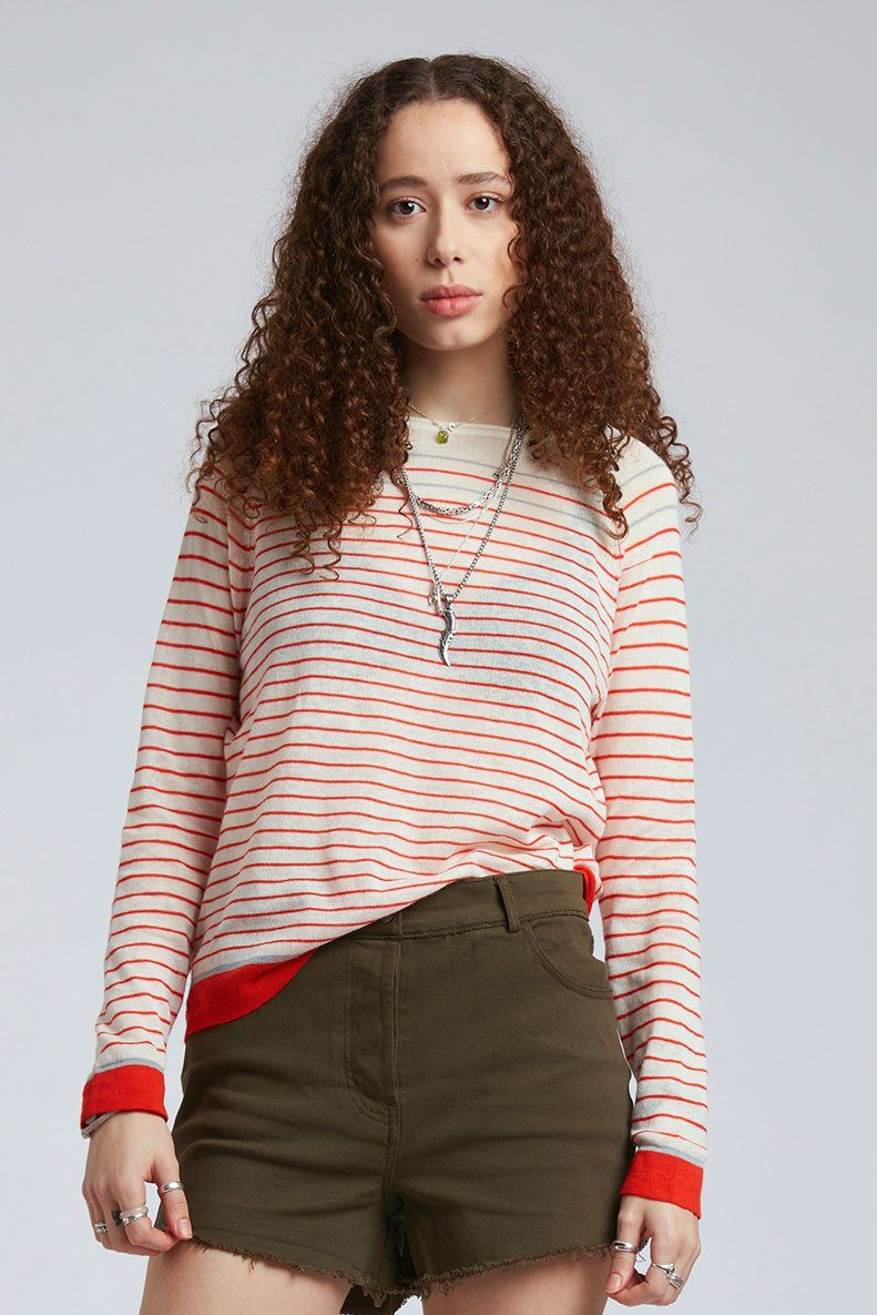 Top - BRETONNA Linen Top Lava