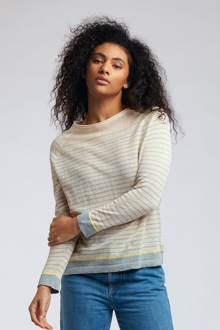 Top - BRETONNA Linen Top Straw