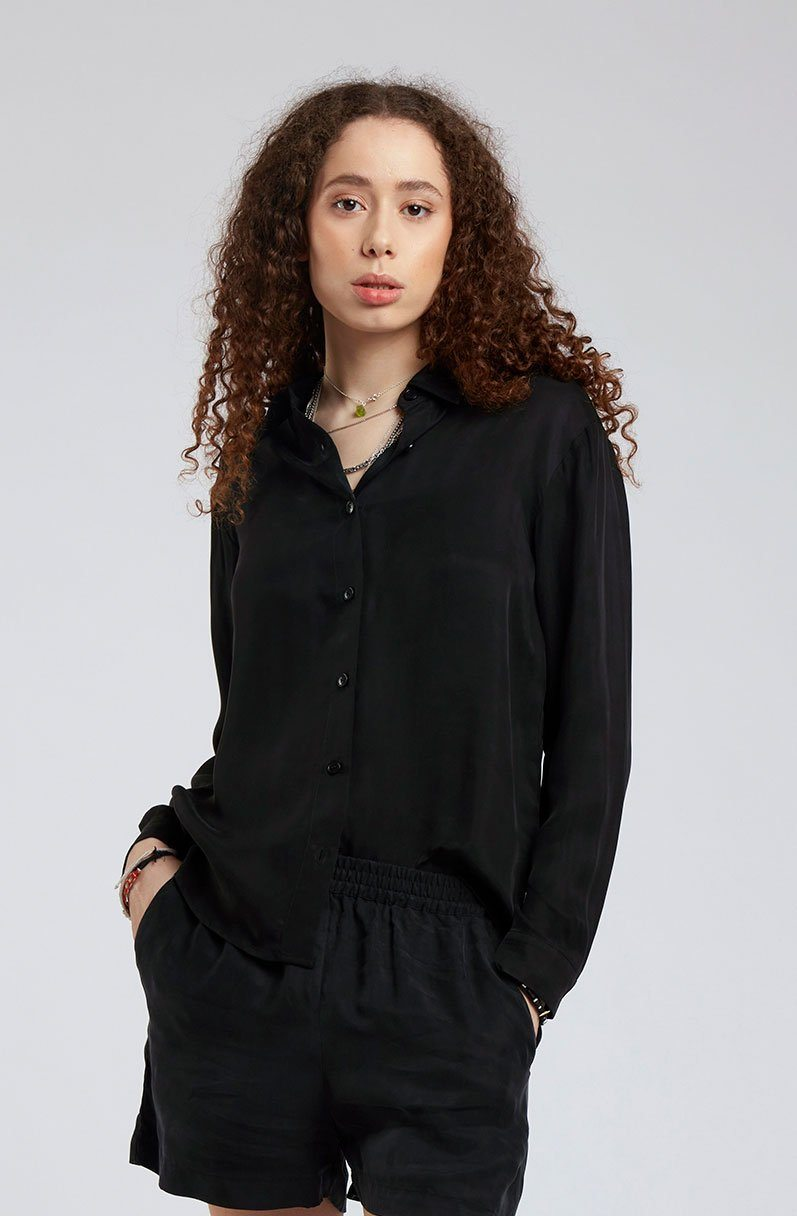 Top - LULE Cupro Shirt Black Coffee