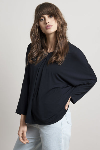 OCEAN Bamboo Pleat Top Black - Komodo Fashion