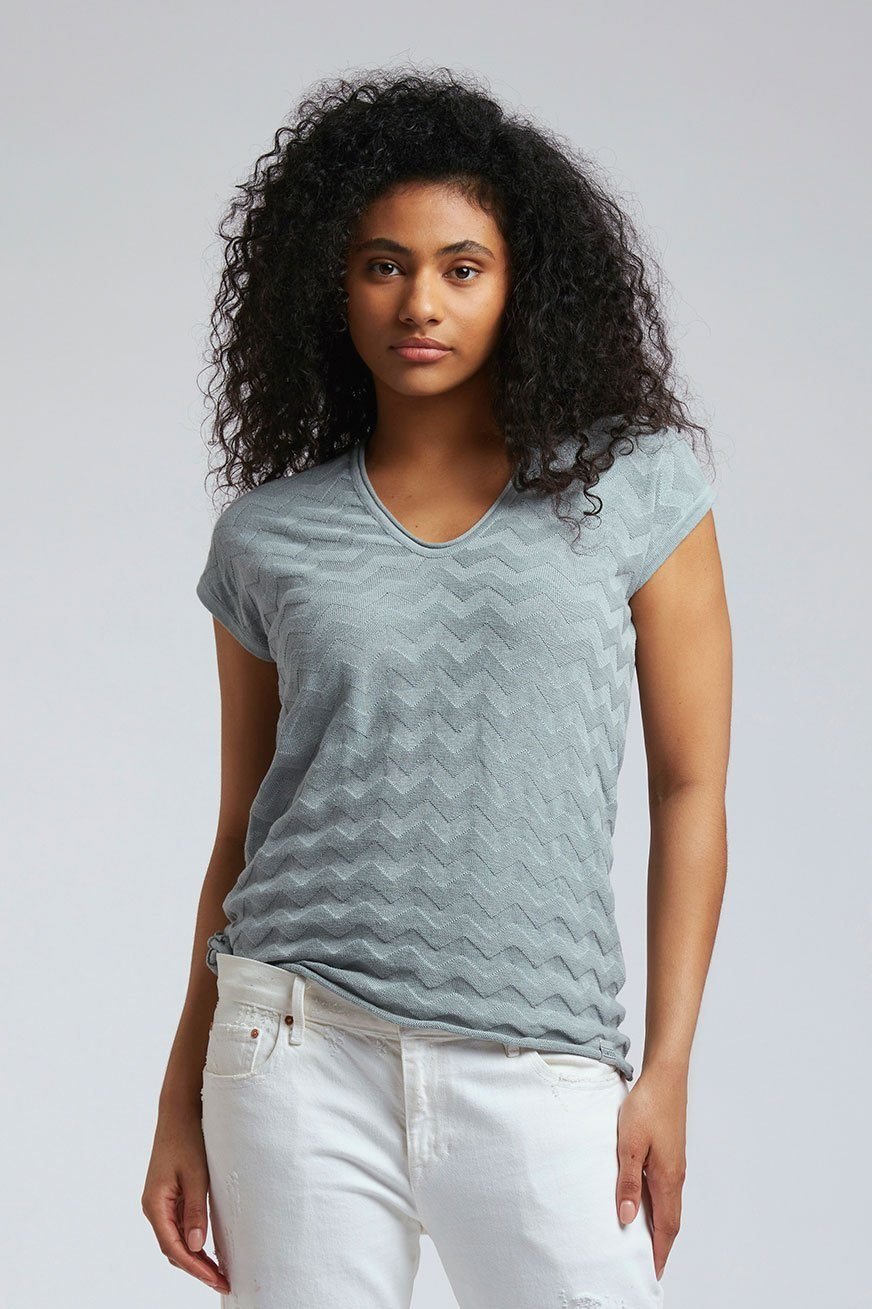 Top - POLLY Linen Top Rainy Grey