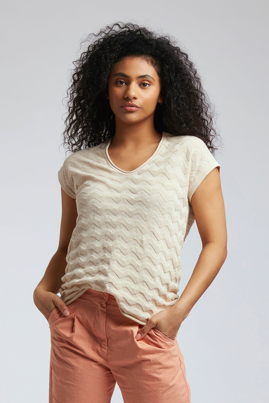 Top - POLLY Linen Top Warm Sand