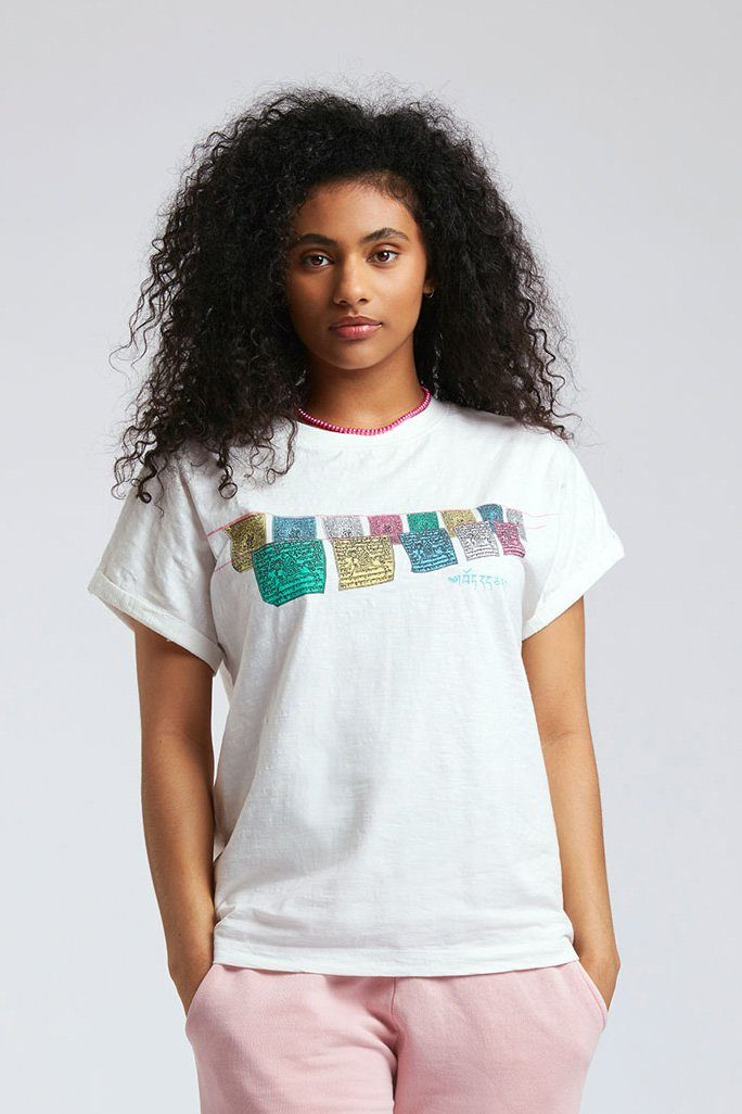 Top - SUNRISE FREE TIBET - GOTS Organic Cotton Tee Off White