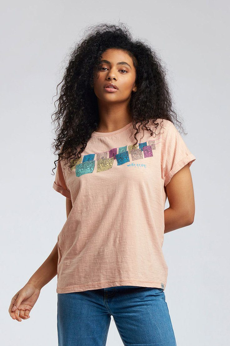 Top - SUNRISE FREE TIBET - GOTS Organic Cotton Tee Peach