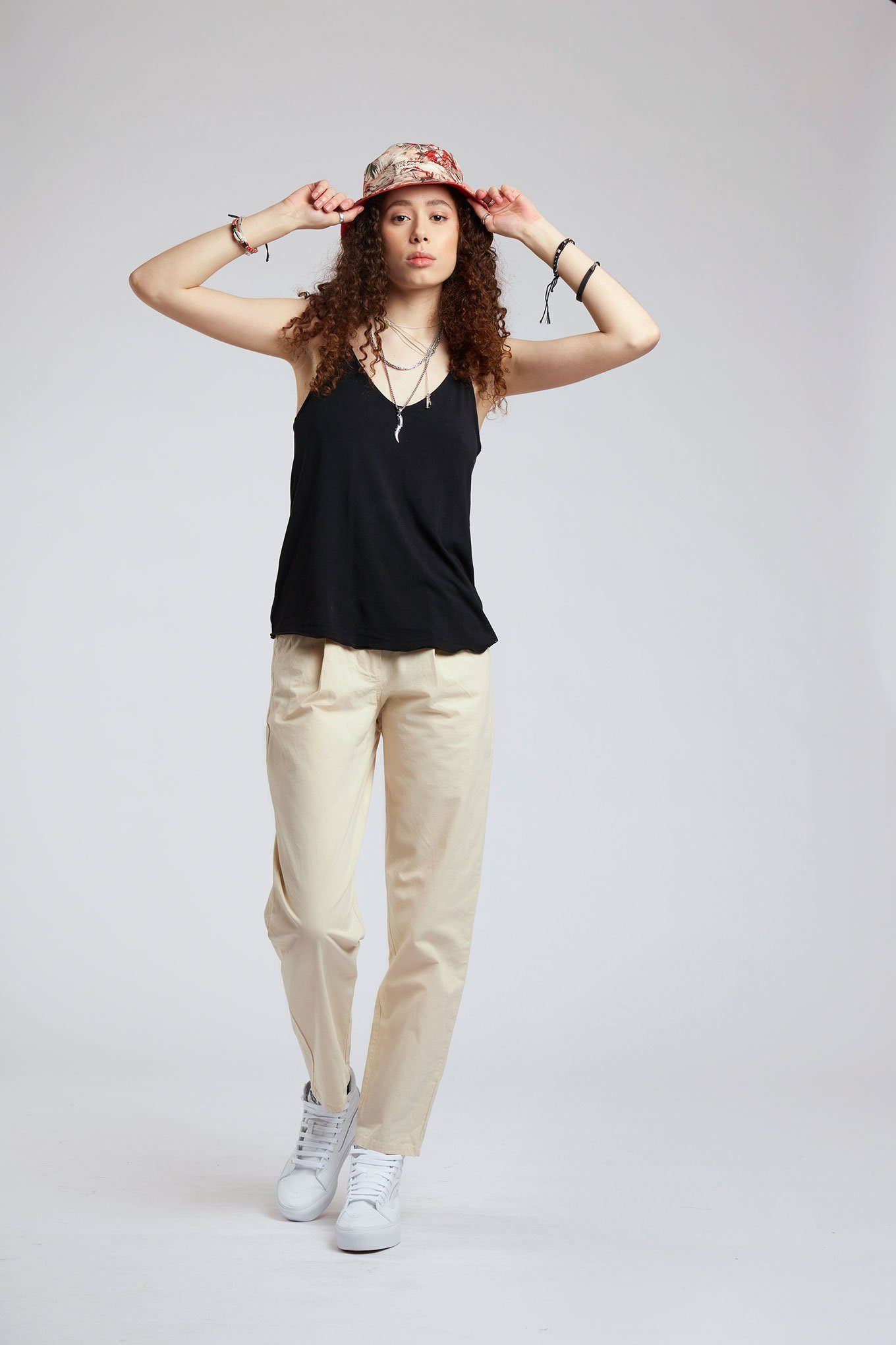 Trousers - BOWIE - Organic Cotton Trousers Pebble