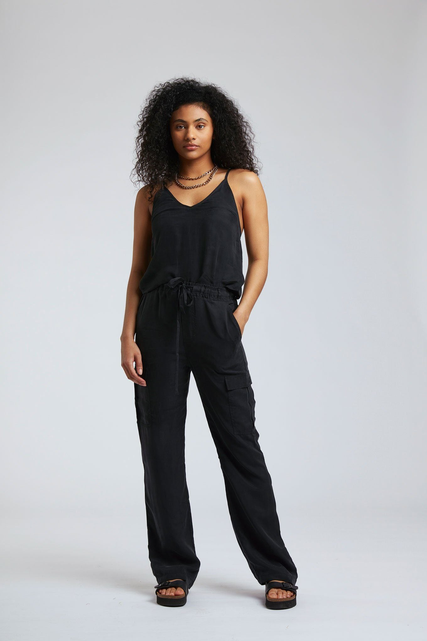 Trousers - DANNIELLE Cupro Trousers Black Coffee