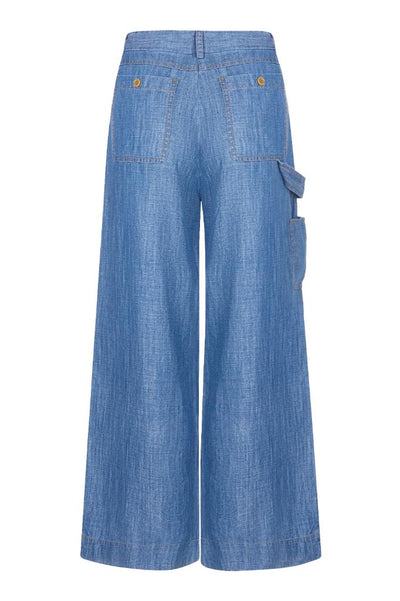 DROVER Tencel Linen Trousers Indigo Wash - Komodo Fashion